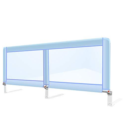 Rails de lit pour lit Double Pliable pour Enfants bébé Bambin Berceau Pare-Chocs pour garçons Longueur de 180 cm (Couleur : Bleu)