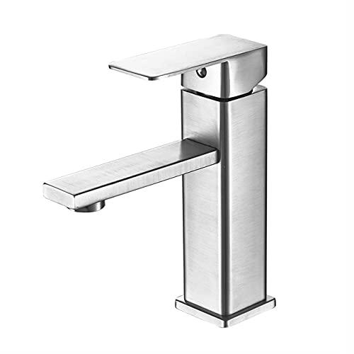 Fregadero de lavabo Grifo de baño Montado en cubierta Grifos mezcladores de lavabo de agua fría y caliente Grifo de lavabo de lavabo negro mate Grúa, níquel cepillado, China