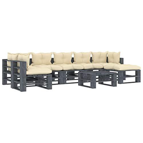 UnfadeMemory Juego de Sofás de Jardín 8 Pzas,Muebles de Palés para Terraza Exterior,2 Sofás Esquineros+4 Sofás Centrales+2 Mesas,Madera de Pino (Estructura de Gris con Cojines Crema)