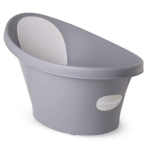Shnuggle - Bañera para bebé de hasta 12 meses con tapón en la parte inferior, color gris oscuro con respaldo blanco, 1,2 kg