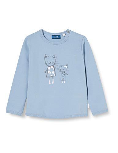 Sanetta Baby-Mädchen Sky Blue Trendiges Sweatshirt in zartem Blau mit süßem Emma The cat Print Kidswear, 056