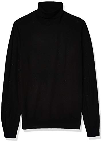 Amazon Brand - Goodthreads Men's Lightweight Merino Wool/Acrylic Turtleneck Sweater, Black Medium