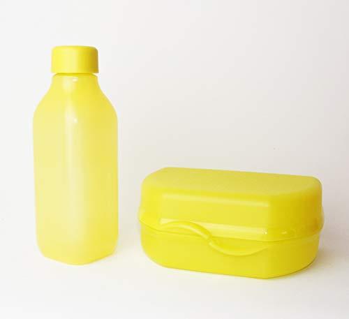 EcoEasy TUPPERWARE to Go Trinkflasche 500ml Quader Gelb/Limette + Brotdose Snacky Gelb + Minitrichter Lila