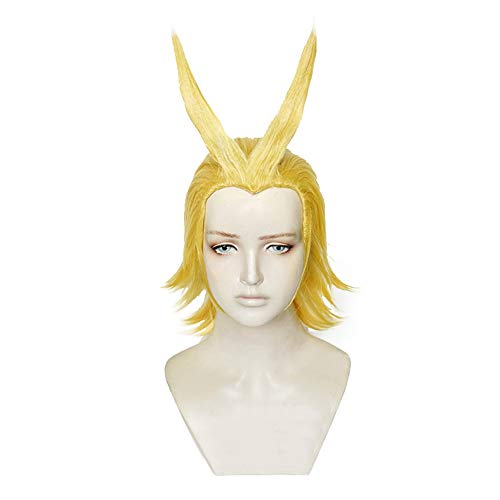 Xingwang Queen Anime Short Blonde Yellow Cosplay Wig Men Boys' Party Wigs for Halloween Christmas (Need to style)