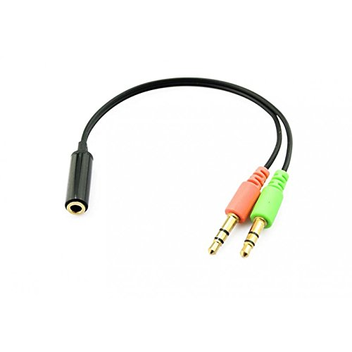 Cable Adaptador Jack Hembra 3.5 mm a Jack Doble Macho para Auriculares