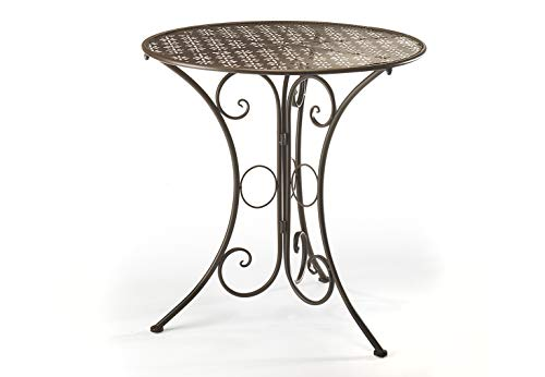 Kobolo Dekorativer Gartentisch Metalltisch Tisch aus braunem Metall mit Stanzungen in Blumenoptik 70cm