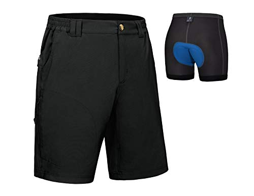 Little Donkey Andy Pantalones cortos de bicicleta de montaña para hombre con mallas desmontables 3D acolchadas - negro -...