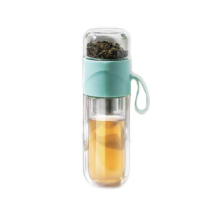 Glass Tea Bottle Double Layer Glass Tea Infuser,14 oz Travel Mug with Strainer Tea Bottle for Loose Leaf Tea-Tea Bottle with Stainless Steel Mesh Filter (Blue)