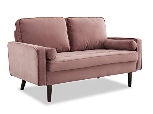 Home Detail Velvet Fabric 2 & 3 Seat Sofa Suite Couch Set Upholstered Luxury Living Room Suite (Smoky Rose, 2 Seater Sofa Only)