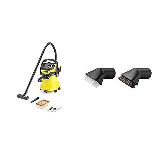 Kärcher WD5 Wet & Dry Vacuum + Kärcher 2.863-221.0 Suction Brush Set + Kärcher 2.863-145.0 Nozzle Tool, Black