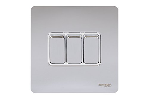 Schneider Electric Ultimate Screwless Flat Plate - 3 Gang Toggle 2 Way Light Switch Single Pole 16AX GU1432WPC Polished Chrome with White Insert