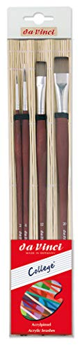 da Vinci Oil & Acrylic Series College Synthetic Paint Brush Set with Bamboo Brush Mat, Multiple Sizes, 4 Brushes (Series 8730 and 8740)