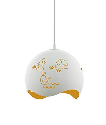 EGLO LAURINA kinderlamp, hanglamp wit/geel, decoratieve kinderkamer, hanglamp met motief voor kinderen, plafondlamp babykamer voor jongens en meisjes, kunststof, 60 W