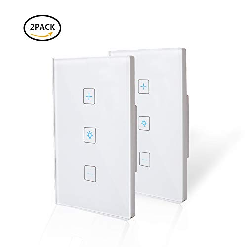 Wifi Light Switches-Smart Dimmer Switch Panel Work with Alexa Google Home IFTTT-Timer Function and Phone Remote Control Wall Light Any Where-No Hub Required and Free App  (2 Pack)