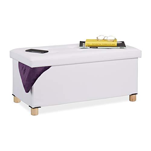 Relaxdays Sitzbank mit Stauraum, Kunstleder, gepolstert, Flur, Wohn- & Schlafzimmer, Truhenbank, HBT: 35x76x37 cm, weiß