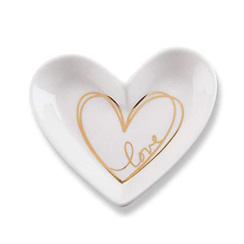 Kate Aspen Trinket Dish, One Size, white, gold