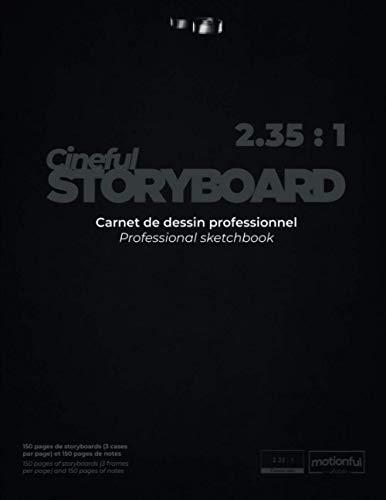 Storyboard - Ratio Cinema (2.35:1) - 300 pages (447 cases/frames) - Carnet de dessin professionnel / Professional Sketchbook - 21,59 cm x 27,94 cm (8,5 po x 11 po)
