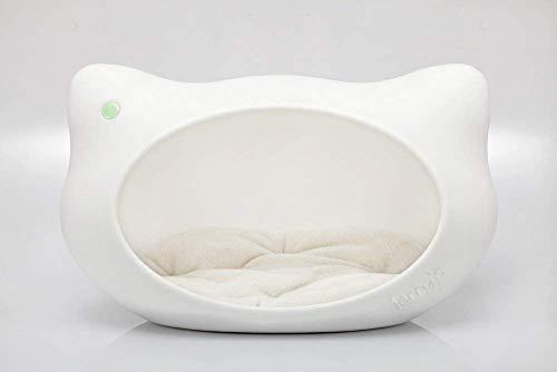 Jerry's Design Katzenhöhle (59x36x35 cm) – stilvolles Katzenbett aus Kunststoff mit weichem Katzenkissen, Katzenhaus für Innen & Außen, geeignet als Katzenkorb für große Katzen, Made in Germany