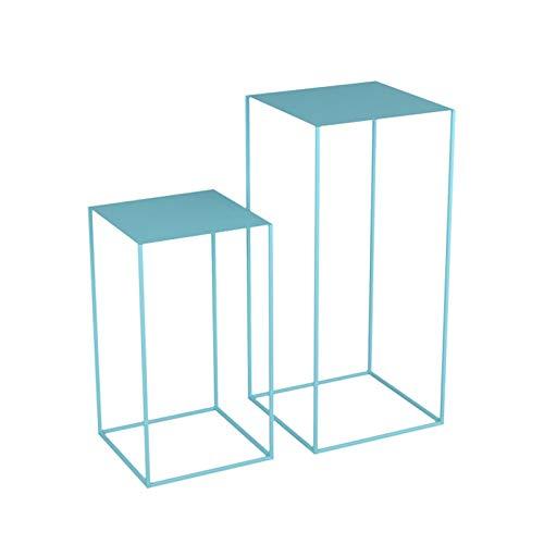 BZ-ZK Conjuntos De Mesa Lateral, Mesa De Arte De Hierro Mesa De Estar A Domicilio Tablas De Anidación Duradera Tallo Alto, 54 Cm / 74cm(Size:A,Color:Azul)