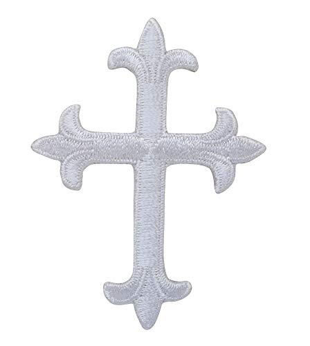 Small White Fleur De Lis Cross Embroidered Iron on Patch