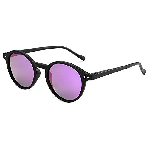 ZENOTTIC Gafas de sol Polarizadas Redondo Retrospectivo Cl¨¢sico Retrospectivo Lentes de sol Marco UV400 Para hombres y mujeres ¡ (NEGRO + PÚRPURA Espejo)