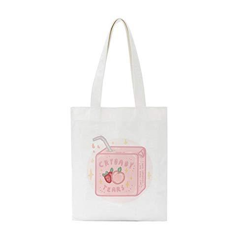 ZIJ Bolso de la Lona de la Bebida del melocotón Rosado Harajuku Casual Bolsa de Compras Vogue Bags Chic Gran Capacidad de Las Mujeres Bolsa (Color : 2680)