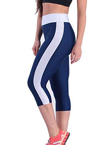 Achinel Leggings deportivos Capri para mujer, cintura alta, gimnasio, ajustados, a rayas, pantalones de yoga, color azul marino, M