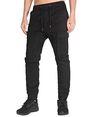 ITALY MORN Men's Jogger Cargo Pants Elastic Waist (Black, M)