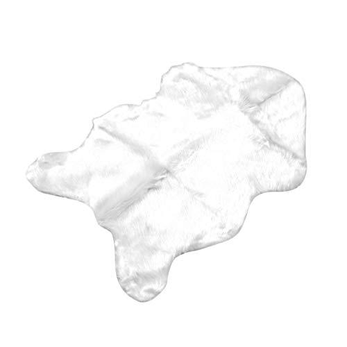 Preisvergleich Produktbild Superweiche Faux-Schaffell-waschbarer Teppich-warme haarige Sitzauflage-flaumige Wolldecken-Faux-Pelz-Matten für Fußboden-Stühle Sofas Kissen-Weiß (BCVBFGCXVB)