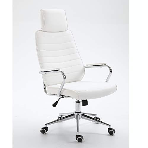 SVITA Bürostuhl mit Kopfstütze Chefsessel Schreibtischstuhl Drehstuhl (Weiß)