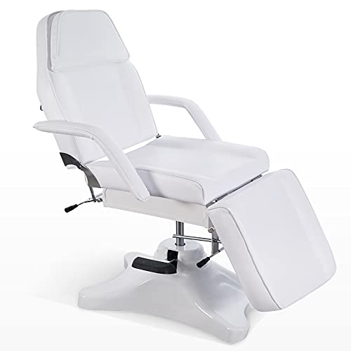 BarberPub Massage Chair Table with Hydraulic Pump, Adjustable Multi-purpose Spa Bed Table Tattoo Chair for Massage, Spa, Tattoo, Facial Care, Waxing 6154-9613w (White)