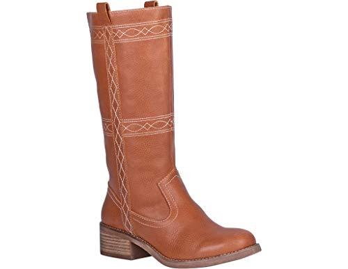 Dingo Women's Longhorn Western Boot Round Toe Cognac 9.5 M