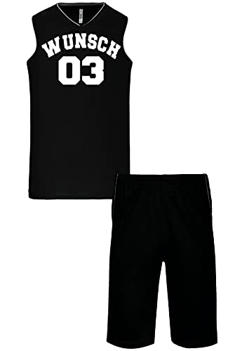 Wunschnummer + Name Basketball Set Trikot + Shorts Proact Tank Shirt + Hose Bundle Navy Black White Red Yellow XS S M L XL XXL 3XL 4XL Teamshirt Personalisierbar (Black, XS)
