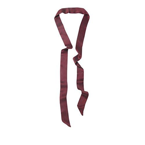 LSHARON Silk Women's 100% Mulberry Silk Scarf Thin Skinny Scarf Boyfriend Tie Necktie Choker (200cm * 4cm, Wine)