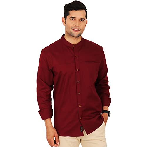 SHIRT THEORY Maroon Solid Full Sleeves Casual Shirt for Men II Premium Cotton Shirt II Stylish Shirt for Men II Latest Style Men Casual Shirt II Slim fit Shirts for Men
