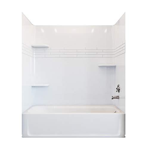 Mustee 680WHT TOPAZ 60-in x 30-in Premium Fiberglass Bathtub Wall, White