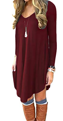 DEARCASE Women's Long Sleeve Casual Loose T-Shirt Dress Wine Red Small