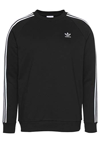 adidas 3 Stripes Crew Sweater Sweatshirt (L, Black)