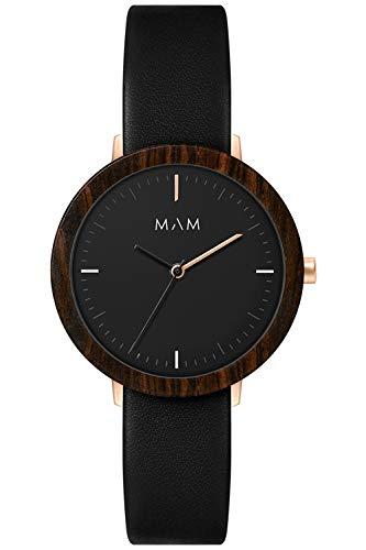 Mam originals Damen Uhr analog Japanisches Quarzwerk mit Leder Armband FERRA 634