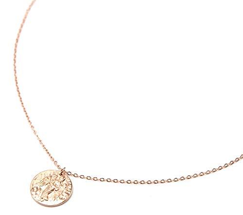 Oh My Shop CC2460Fb - Collar de Cadena Fina de Acero Oro Rosa con Colgante de Medalla Virgen Signo del Zodiaco