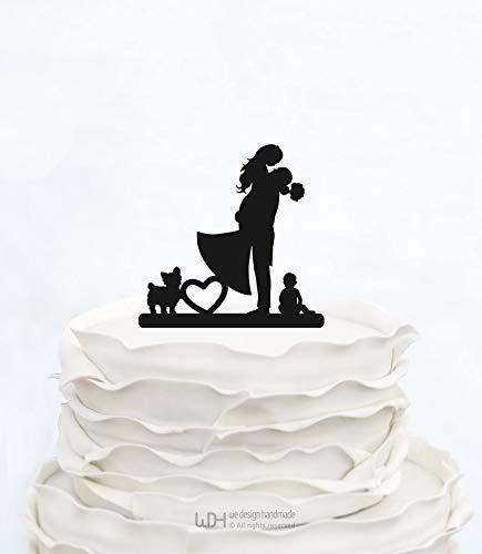 Decoración para tarta con diseño de familia con niño y perro, decoración para tarta de boda para novia y novio, para ...