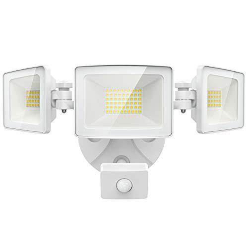 Olafus 50W LED Strahler mit Bewegungsmelder mit 3 Köpfe, 5000LM Superhell LED Fluter Außen Sensor, IP65 Wasserdicht PIR Außenstrahler, 6000K Flutlicht Außenleuchte für Garage, Garten, Hof