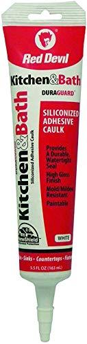 Red Devil 0405 Duraguard Kitchen & Bath Siliconized Acrylic Caulk, 5.5 Oz Squeeze Tube, White, Pack of 1