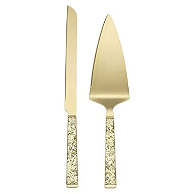 Kate Spade New York Simply Sparkling Gold Cake Knife and Cake Server Dessert Set, Gold-Plated Metal