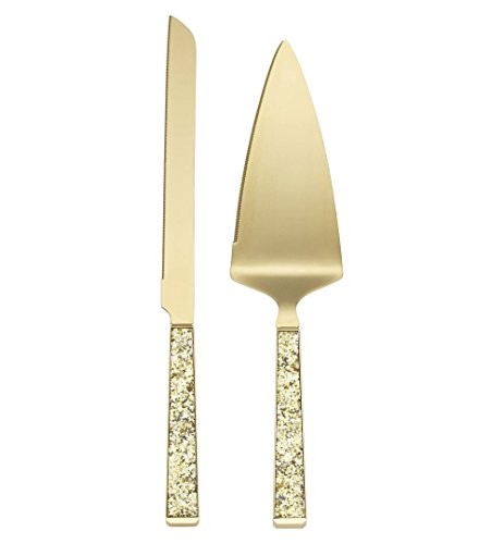 Kate Spade New York Simply Sparkling Gold Cake Knife and Cake Server Dessert Set, Gold-Plated Metal