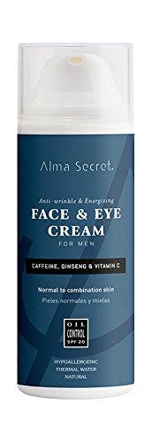 Alma Secret MEN Hidratante Facial & Contorno de Ojos con Cafeína, Ginseng & Vitamina C. SPF 20-50 ml