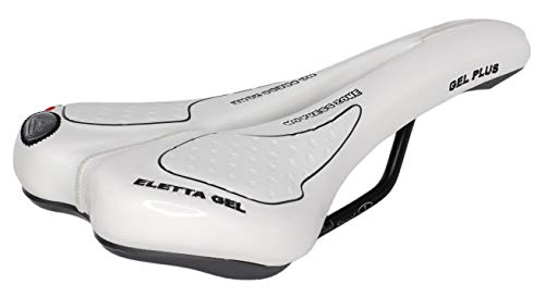 Montegrappa - Sillín para bicicleta de carretera MTB Trekking Unisex Mod. SM Eletta Gel 1150 Made in Italy Color Blanco