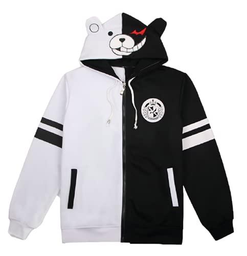 GK-O Danganronpa Monokuma Black and White Bear Hoodie Jacket Cosplay Costume (Asian Size Medium)