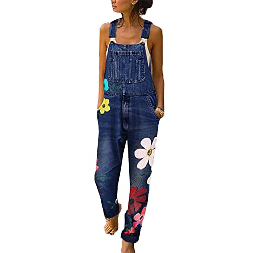 WJANYHN Monos Estampados, Tirantes de Color de Gran tamaño, Pantalones de Mezclilla elásticos para Mujer