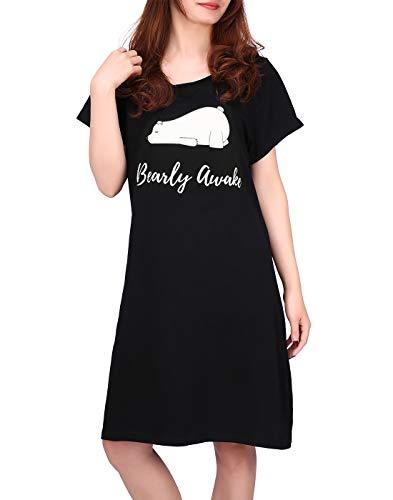 HDE - Camisón de algodón para mujer, manga corta, con estampado de camiseta, S-5X, Bearly Awake, L-XL